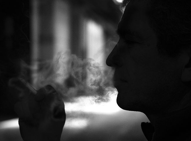 a man while smoking